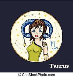 zodiaco, vettore, segno., ragazza