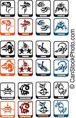 zodiaco, vettore, set, segno