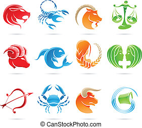 Zodiacs - Glowing zodiacs isolated on a white background