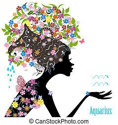 zodiak, fason, dziewczyna, aquarius., znak