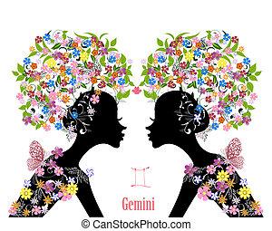 zodiak, fason, dziewczyna, gemini., znak