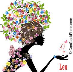 zodiak, fason, dziewczyna, leo., znak
