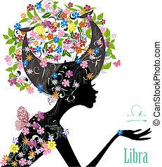 zodiak, fason, libra., dziewczyna, znak
