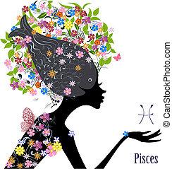 zodiak, fason, pisces., dziewczyna, znak