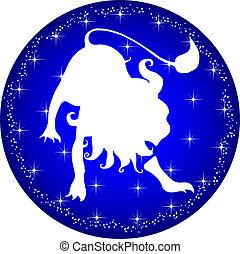 zodiak, guzik, lew