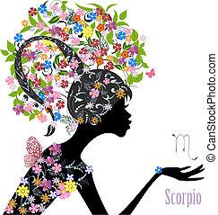 zodiak, scorpio., fason, dziewczyna, znak