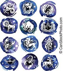 zodiak, tło, akwarela, projektować