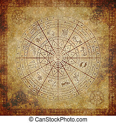 zodiaken, cirkel, på, mycket, gammal, papper