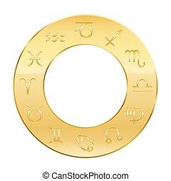 zodiaque, astrologie, doré, cercle