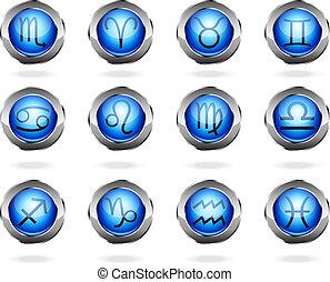 zodiaque, astrologie, signes, bouton, ensemble