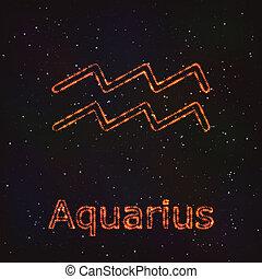 zodiaque, astrologie, symbole., aquarius., briller