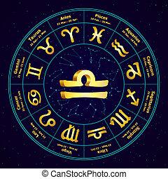zodiaque, Balance, Cercle, or, signe
