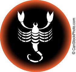 zodiaque, bouton, scorpion