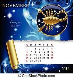 zodiaque, calendrier,  page