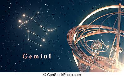 zodiaque, constellation, gémeaux, et, sphère armillaire,...