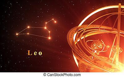 zodiaque, constellation, lion, et, sphère armillaire, sur, arrière-plan rouge