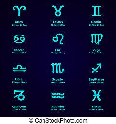 zodiaque, design., horoscope, set., icons.