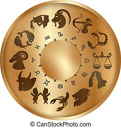 zodiaque, disque, or, signes