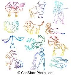 zodiaque, ensemble,  art, ligne, signes