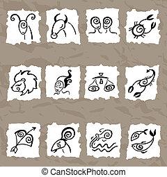 zodiaque, ensemble,  horoscope