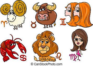 zodiaque, ensemble,  horoscope, signes
