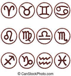 zodiaque, ensemble, signes