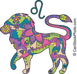 zodiaque, lion, signe