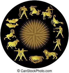 zodiaque, or, sur, noir