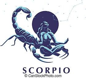 zodiaque, scorpio., constellation, scorpion., signe