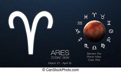 zodiaque, signe, -, aries., frais, astrologic, infographics., éléments, de, ceci, image, meublé, par, nasa