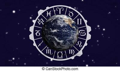 zodiaque, signe, diagramme, globe