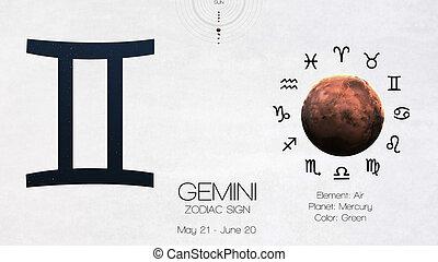 zodiaque, signe, -, gemini., frais, astrologic, infographics., éléments, de, ceci, image, meublé, par, nasa