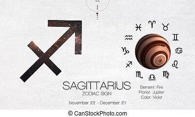 zodiaque, signe, -, sagittarius., frais, astrologic,...