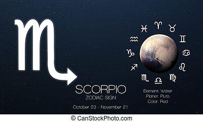 zodiaque, signe, -, scorpio., frais, astrologic, infographics., éléments, de, ceci, image, meublé, par, nasa