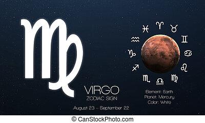 zodiaque, signe, -, virgo., frais, astrologic, infographics., éléments, de, ceci, image, meublé, par, nasa