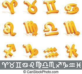 zodiaque, signs.