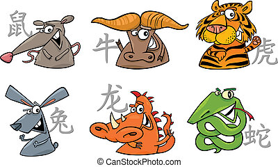 zodiaque, six, chinois, signes