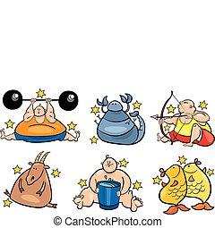zodiaque, six, excès poids, signes