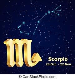 zodiaque, vecteur, signe, scorpio.