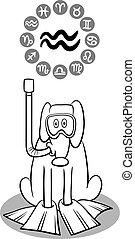 zodiaque, verseau, chien, dessin animé, signe