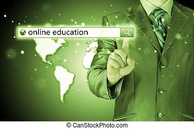 zoeken, bar, screen., feitelijk, geschreven, online onderwijs
