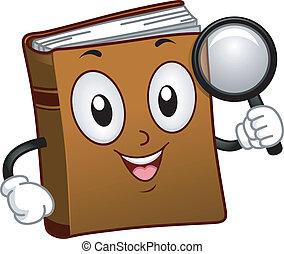 zoeken, boek, mascotte