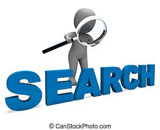 zoeken, karakter, optredens, internet, vinden, en, online...