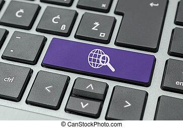zoeken, knoop, op, computer toetsenbord