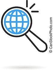 zoeken, mager, vergroten, zoals, globaal, lijn, glas