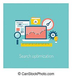 zoeken, optimization, illustratie, concept
