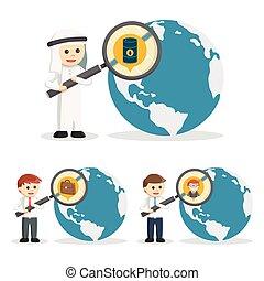 zoeken, set, zakenlui, 2, pictogram