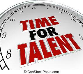 zoeken, talent, talent, woorden, klok, carrière, bekwaam, mensen, gezicht, gewenste, werk, werkmannen , kandidaten, willen, tijd, nieuw, witte , illustreren