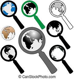 zoeken, vinden, glas, aarde, wereld, vergroten, pictogram