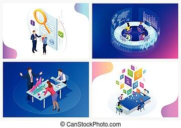 zoeken, zakelijk, motor, vector, digitale , isometric, illustratie, marketing, kantoor, financiën, online, strategie, optimisation, seo, concept., advertising., smm, voorwerpen, internet, idee